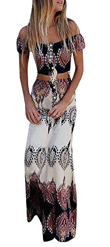 GAMISOTE Women's Crop Top Maxi Skirt 2 Piece Boho Printed Off Shoulder Beach Dress