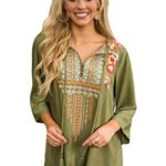 AMLLY Women's Bohemian Embroidery Sleeved Boho Ethnic Style Casual Blouse Tops
