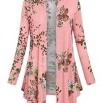 Hibelle Womens Long Sleeve Open Front Floral Print Casual Draped Cardigans(FBA Only)