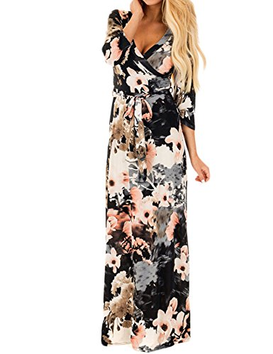 Lavi Beauty Women's Floral Print 3/4 Sleeve Faux Wrap Maxi Casual Dress with Belt