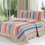 Alicemall European Boho Bed in a Bag Comforter Set 100% Cotton Rainbow-like Stripe Pattern Bedspread/ Quilt Set, 3 Pieces, Queen Size (Queen, Rainbow Color)
