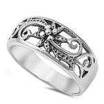 Antiqued Flower Filigree Cute Boho Ring New .925 Sterling Silver Band Sizes 5-10