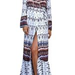 KESI Women's Long Sleeves Dress Long Wrap Dress Casual Floral Printed Maxi Beach Dresses