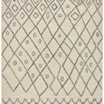Rivet Geometric Boho Wool Rug, 8′ x 10′, Cream
