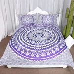 Arightex Mandala Duvet Cover with Pillowcases Purple Bohemian Bedding Flower Ombre Boho Chic Duvet Cover Quilt Cover Bedspread (Full)