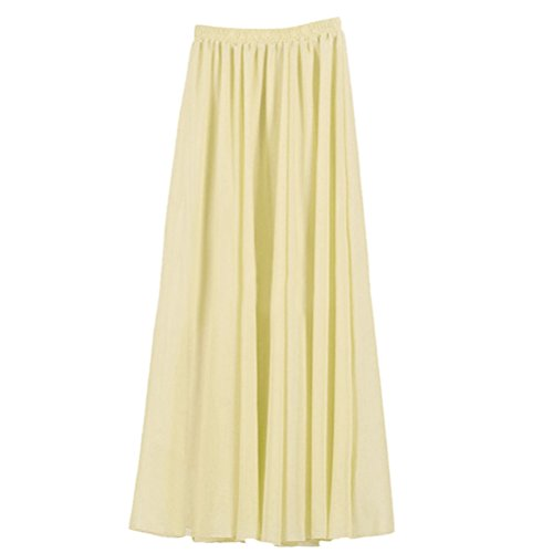 Ezcosplay Women's Double Layer Retro Chiffon Long Skirt Elastic Waist Boho Skirt