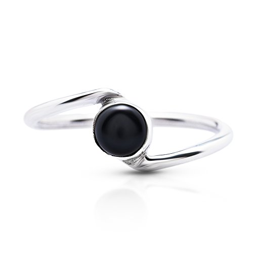 Black Onyx Delicate Ring 925 Sterling Silver Vintage Boho Chic US Size 5 6 7 8 9
