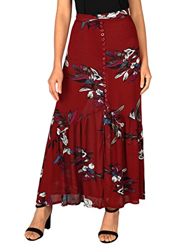 WAJAT Women's Boho Floral Printed Elastic Waist Split Maxi Skirt With Buttons