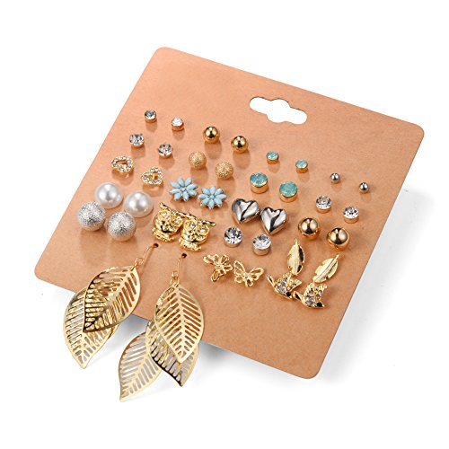 Unique Queen Women's Girl's Stainless Steel Assorted Multiple Stud Earring 20 Style Sets,Hypoallergenic
