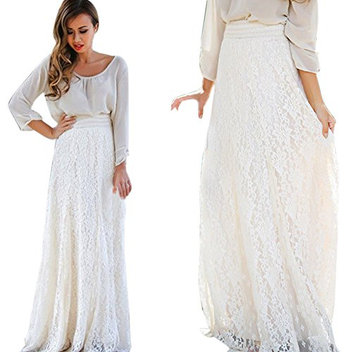 ZOMUSA Clearance! Women Maxi Skirt, Lace Double Layer Pleated Elastic Waist Long Skirt