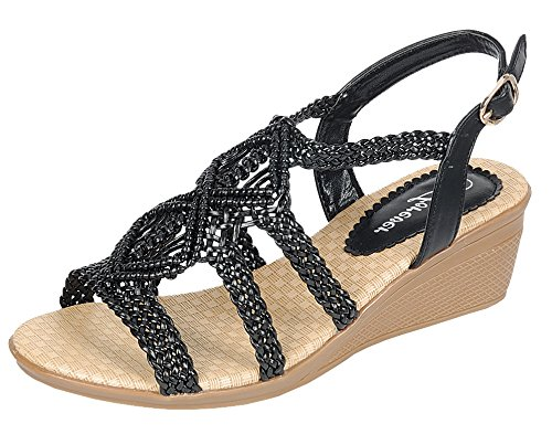 Forever Link Women's Woven Beaded Floral Boho Wedge Sandal