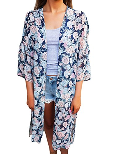 Sidefeel Women Floral Print Cover Ups Beachwear Boho Kimono Cardigan