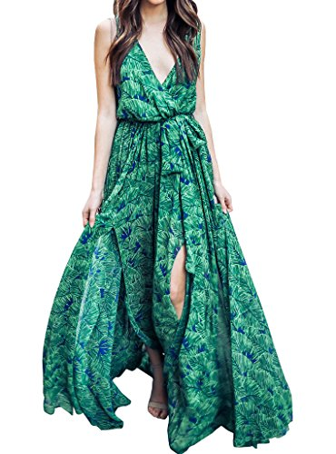Womens Floral Print Faux Wrap Plunge V Neck Sleeveless Split Boho Maxi Dress Beach Party