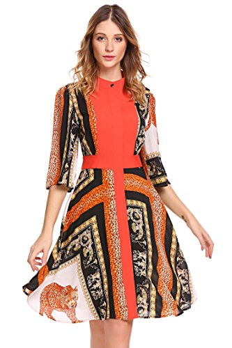 Dethler Women's Vintage Flared Sleeve Swing A Line Dress for Ladies