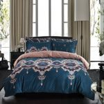 Bohemian Bedding Luxury Bohemain Baroque Duvet Cover Set Blue/Brown Floral Reversible Pattern King(104″x90″)-3 Pieces-(1 Duvet Cover+2 Pillowcases)-120 gsm Soft Microfiber Bedding Set by Moreover
