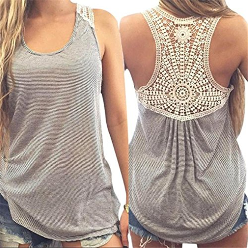 Pengy Women Summer Boho Style Sleeveless Lace Halter Casual Vest Top Tank Tops T-Shirt Blouse