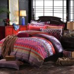 MAXYOYO New!Boho Style Duvet Cover Set,Colorful Stripe Sheet Sets,Bohemia Bedding Set 4Pcs King Size